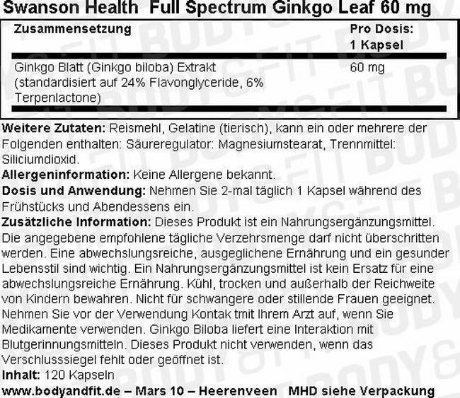 Full Spectrum Ginkgo Leaf 60 mg Nutritional Information 1