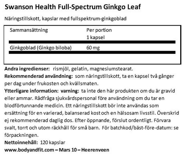 Full Spectrum Ginkgo Leaf 60 mg Nutritional Information 1
