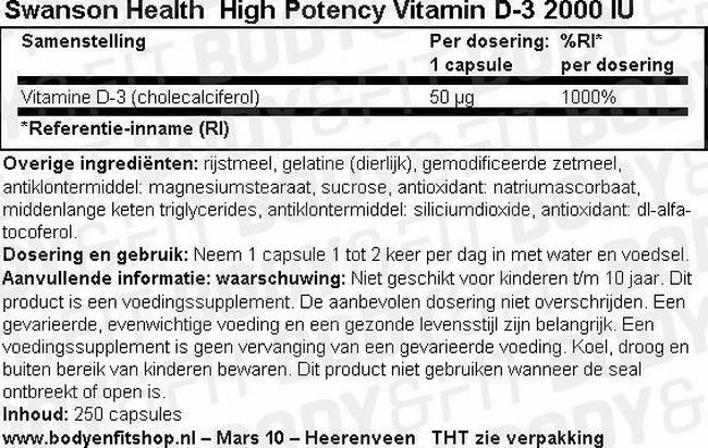 High Potency Vitamine D-3 2000IU Nutritional Information 1