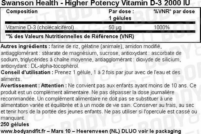 High Potency Vitamine D-3 2000IU Nutritional Information 2