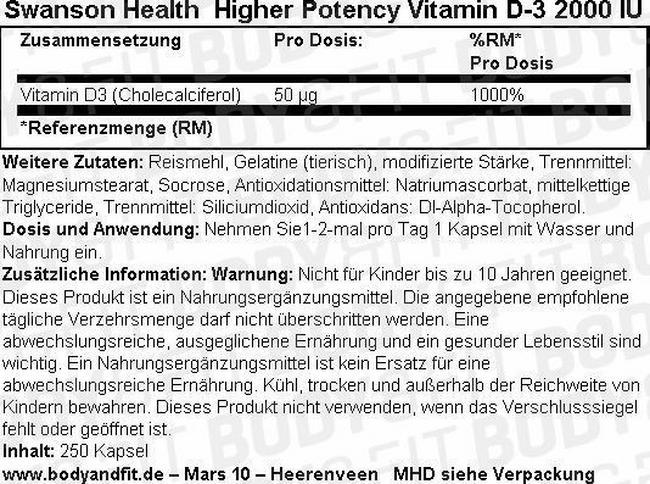 High Potency Vitamine D-3 2000IU Nutritional Information 3