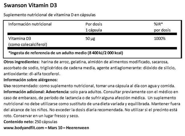 High Potency Vitamin D-3 2000UI Nutritional Information 1