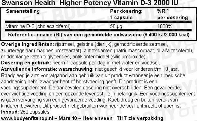 High Potency Vitamine D-3 2000IU Nutritional Information 1