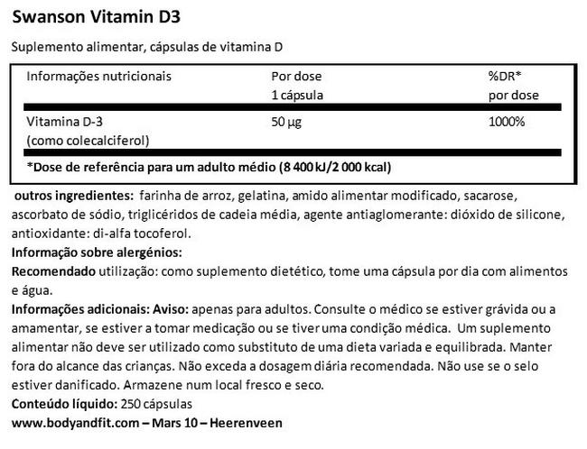 High Potency Vitamin D-3 2000 IU Nutritional Information 1