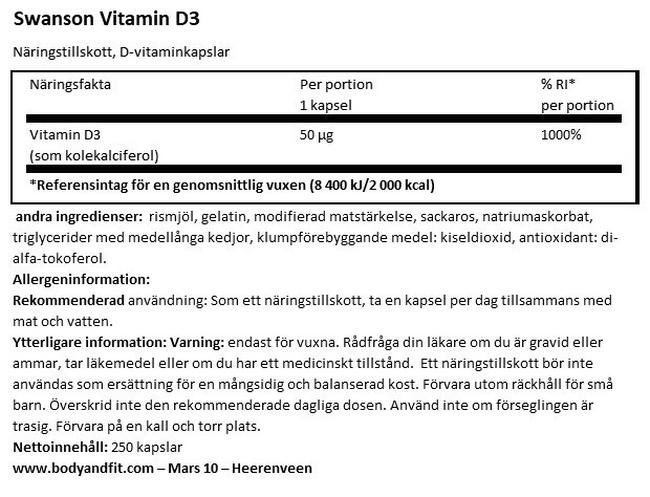 High Potency Vitamin D3 2000 IU Nutritional Information 1