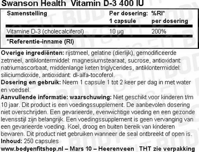 Vitamine D-3 400IU Nutritional Information 1