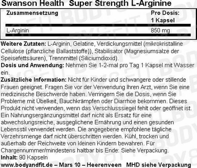 Super Strength L-Arginin 900 mg Nutritional Information 1