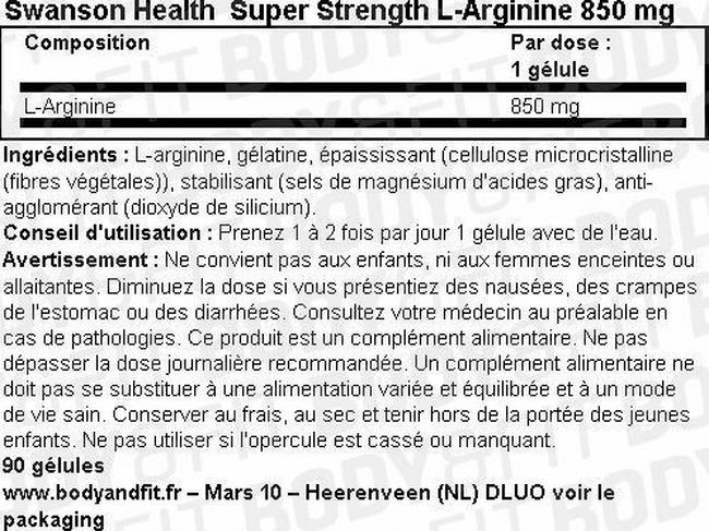 Gélules d'arginine Super Strength L-Arginine 850mg Nutritional Information 1