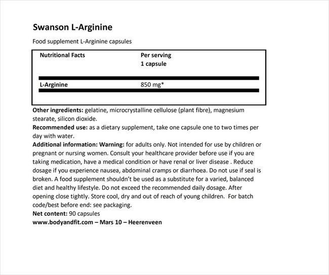 슈퍼 스트렝스 L-아르기닌 850mg Nutritional Information 1