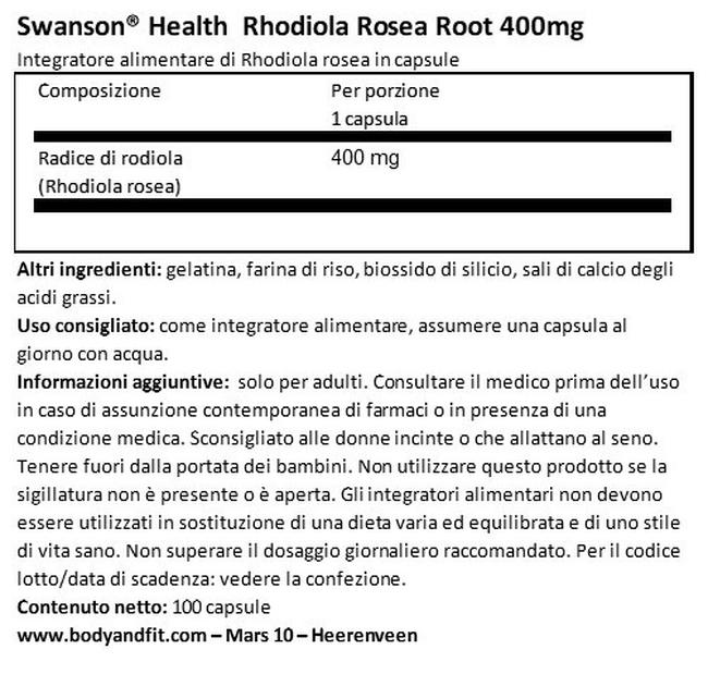 Rhodiola Rosea Root 400mg Nutritional Information 1