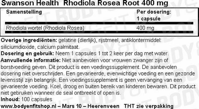 Rhodiola Rosea Root 400mg Nutritional Information 1