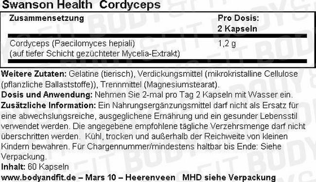Cordyceps Nutritional Information 1