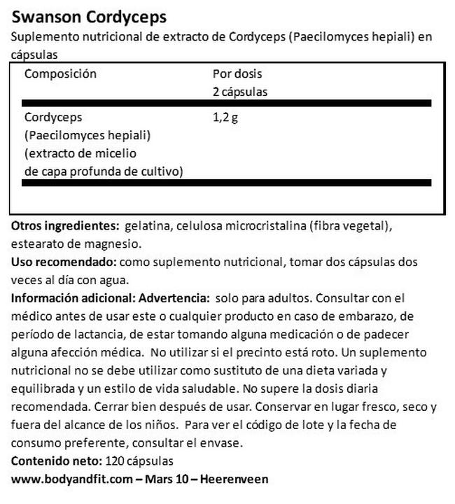 Cordyceps Nutritional Information 1