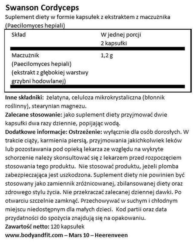 Kordyceps Nutritional Information 1