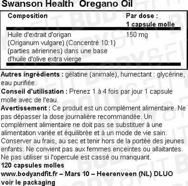 Huile d'origan Nutritional Information 1