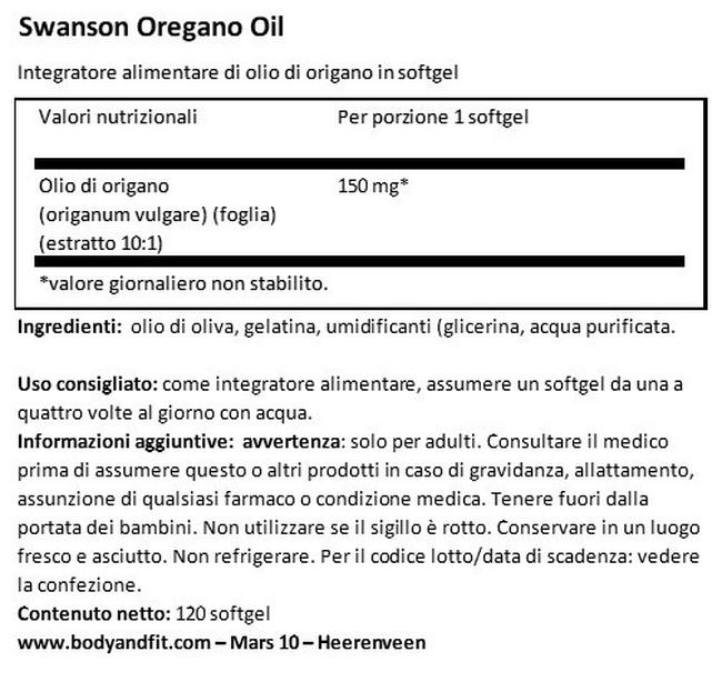 Olio di Origano Nutritional Information 1
