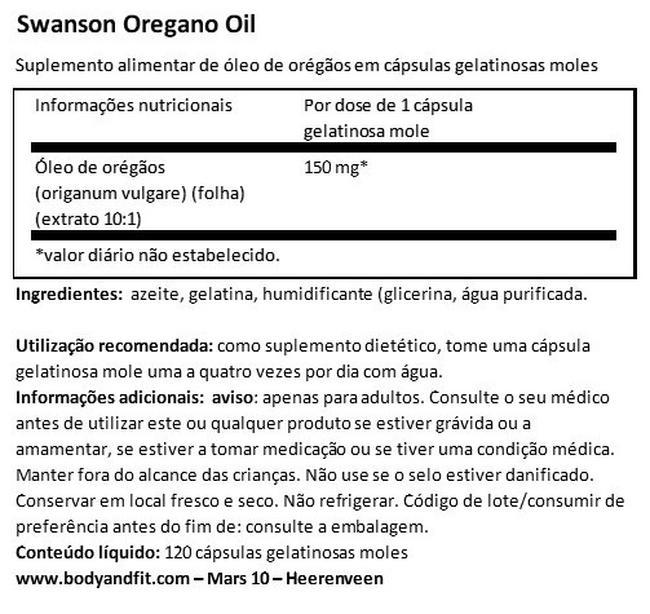 Óleo de orégãos Nutritional Information 1