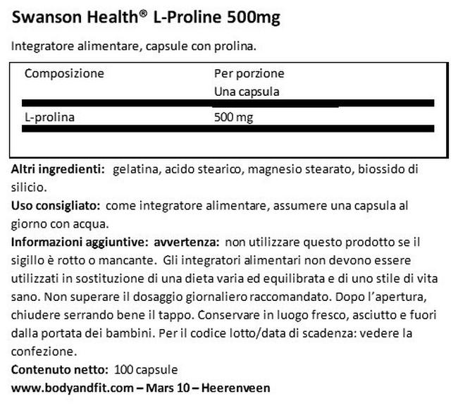 L-Prolina 500 mg Nutritional Information 1