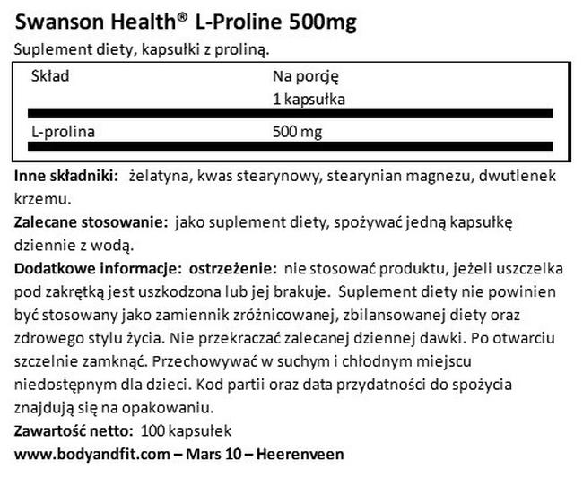 L-Proline 500 mg Nutritional Information 1