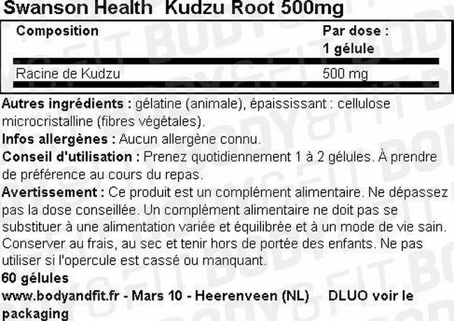 Racine de Kudzu 500mg Nutritional Information 1