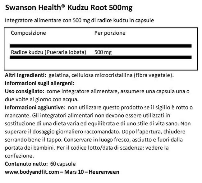 Kudzu Root 500 mg Nutritional Information 1