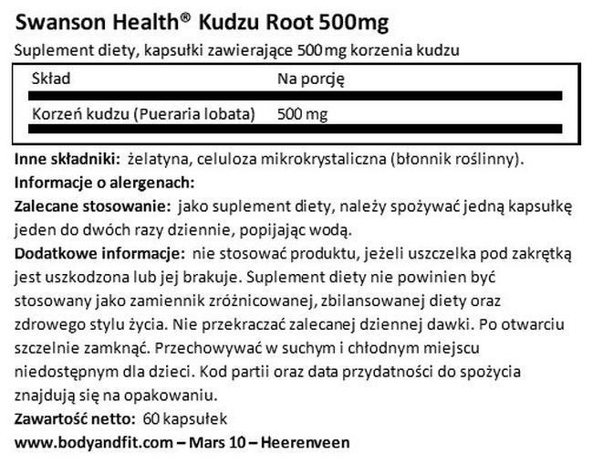 Korzeń kudzu 500 mg Nutritional Information 1
