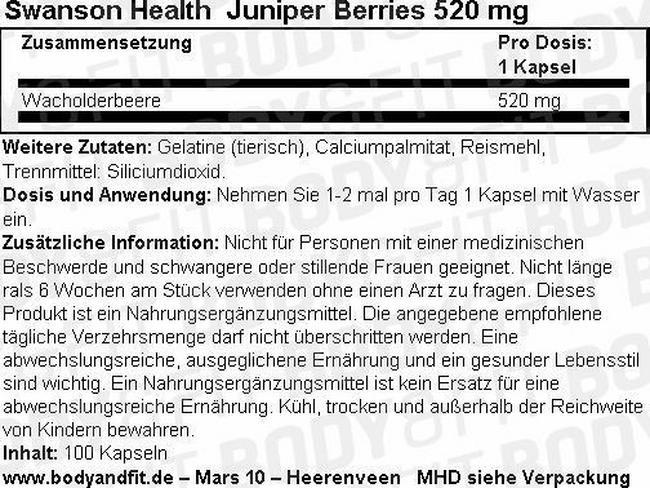 Juniper Berries 520mg Nutritional Information 3