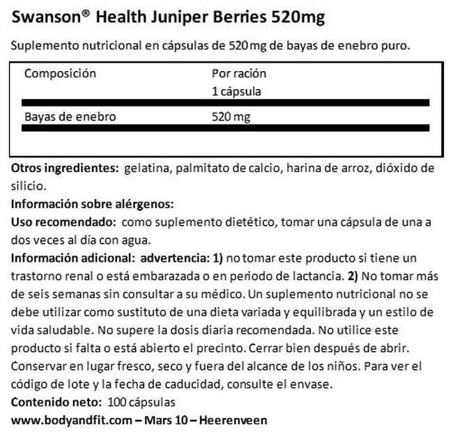 Juniper Berries 520 mg Nutritional Information 1