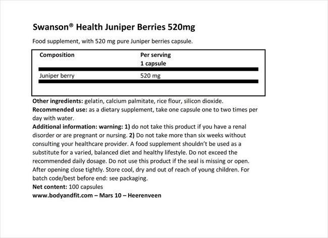 주니퍼 베리 520mg Nutritional Information 1
