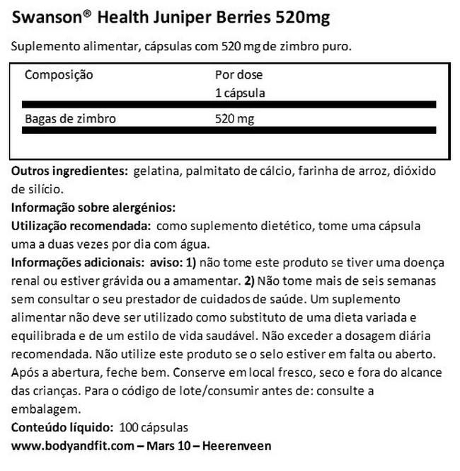 Juniper Berries 520mg Nutritional Information 1