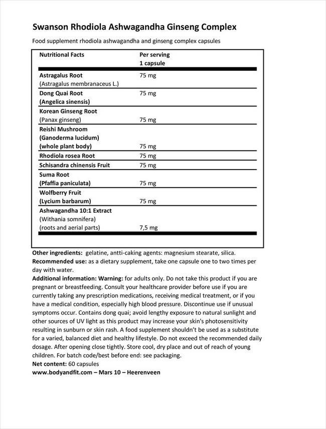 ロディオラ アシュワガンダ ジンセンコンプレックス Nutritional Information 1