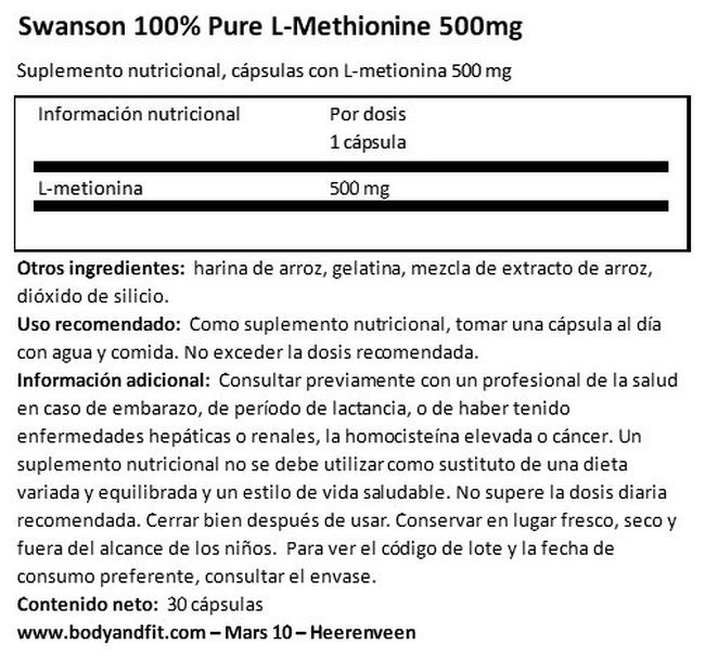 100% Pure L-Methionine 500mg Nutritional Information 1