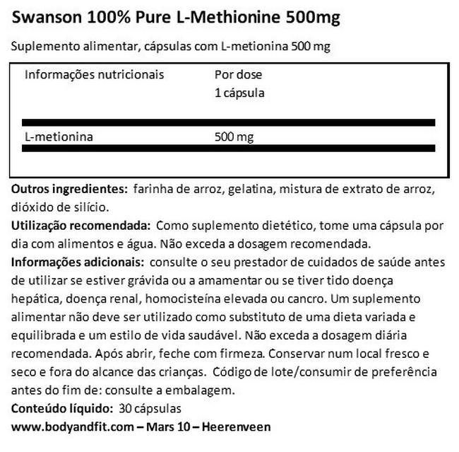 100% Pure L-Methionine 500 mg Nutritional Information 1