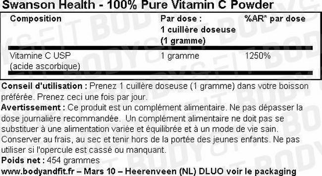 100% Vitamine C Pure en poudre Nutritional Information 1