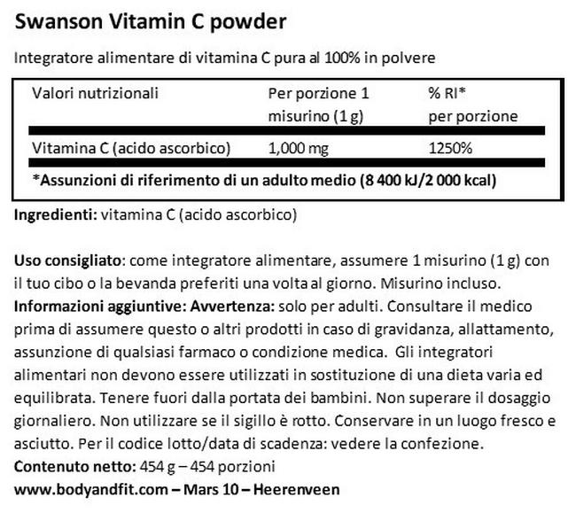 Polvere di Pura Vitamina C 100% Nutritional Information 1