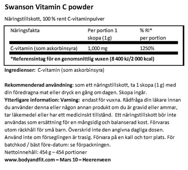 100% Pure Vitamine C Powder Nutritional Information 1