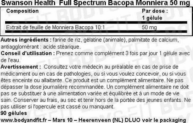 Full Spectrum Bacopa Monniera 50 mg Nutritional Information 2
