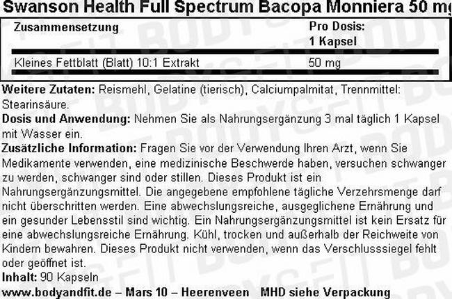 Full Spectrum Bacopa Monniera 50 mg Nutritional Information 3