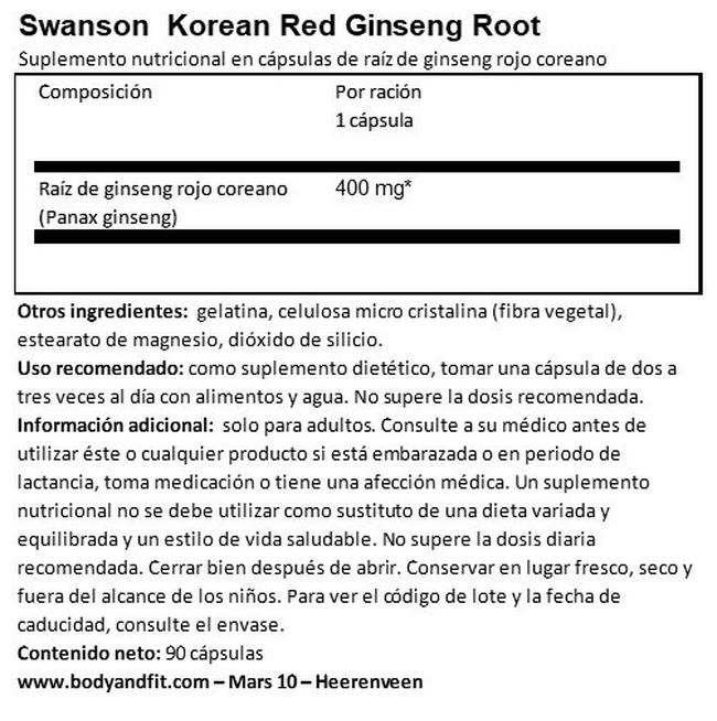 Full Spectrum Korean Red Ginseng 400 mg Nutritional Information 1
