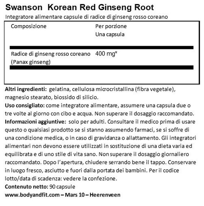 Full Spectrum Ginseng Rosso Coreano 400 mg Nutritional Information 1