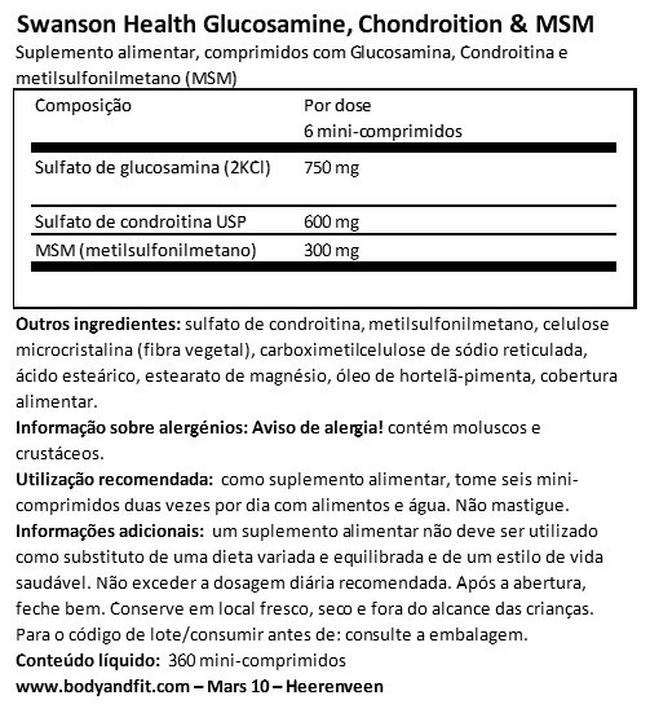 Glucosamine Chondroitin & MSM mini tabs Nutritional Information 1
