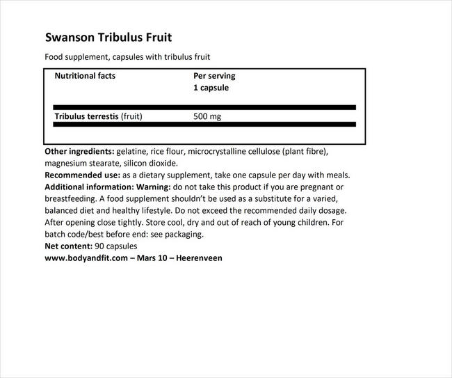 Full Spectrum Tribulus Fruit 500mg Nutritional Information 1