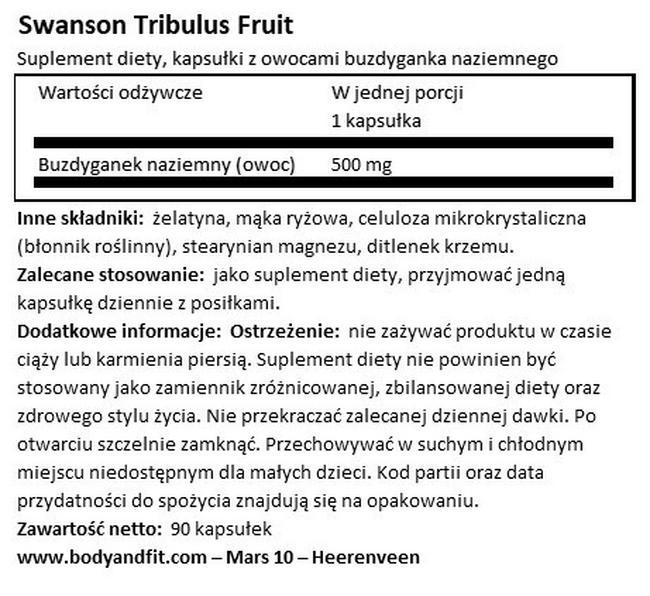 Full Spectrum Tribulus Fruit 500mg Nutritional Information 1