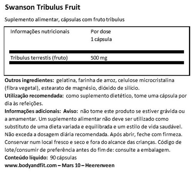 Full Spectrum Tribulus Fruit 500 mg Nutritional Information 1