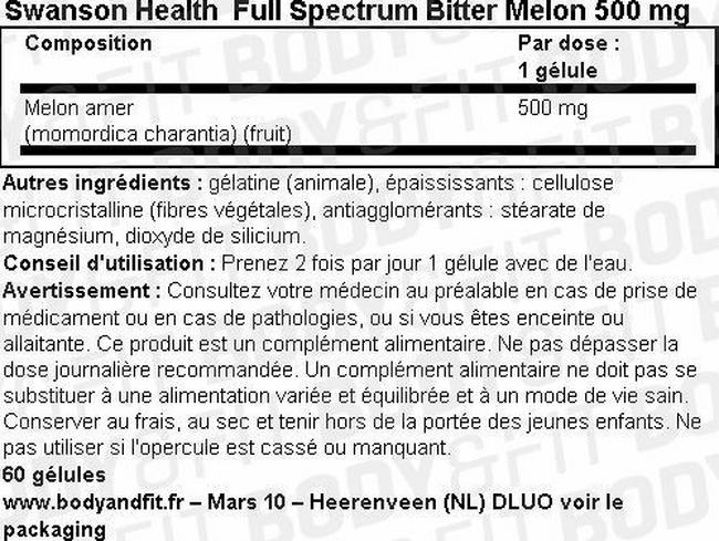 Full Spectrum Bitter Melon 500mg Nutritional Information 1