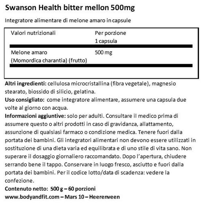 Melone Amaro Full Spectrum 500 mg Nutritional Information 1