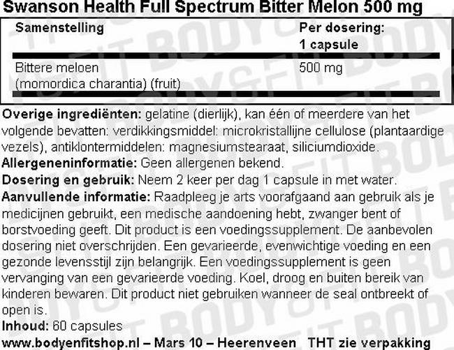 Full Spectrum Bitter Melon 500mg Nutritional Information 1