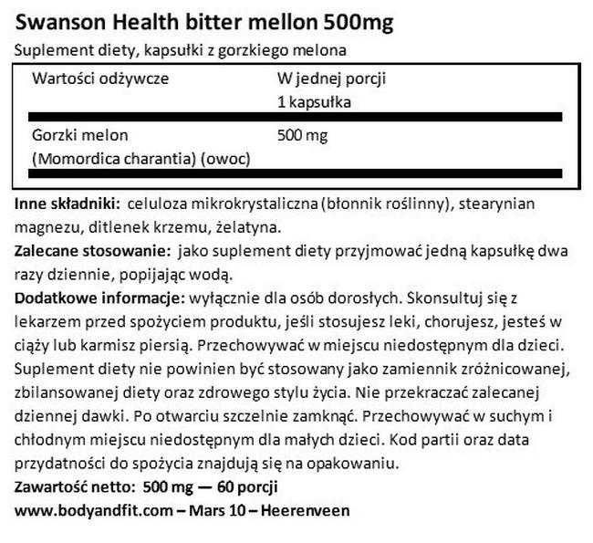 Gorzki melon Full Spectrum 500 mg Nutritional Information 1