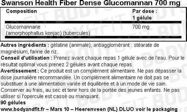 Gélules Glucomannan Nutritional Information 1
