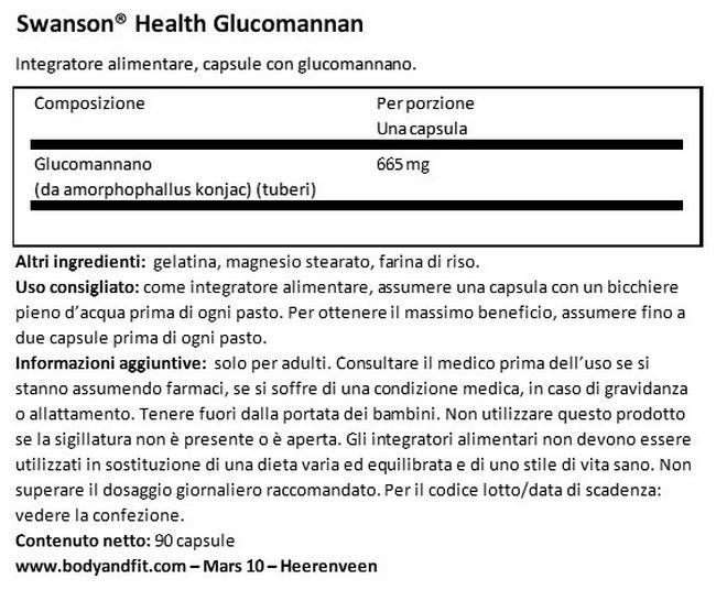 Glucomannan Nutritional Information 1